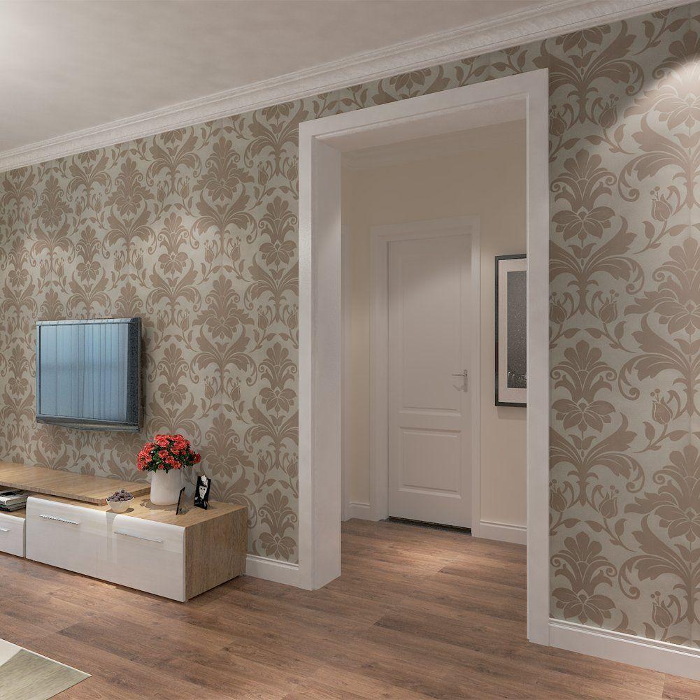 hanmero papier peint intiss baroque europen motif de damas 3d 053m 10m - Papier Peint Pour Salon
