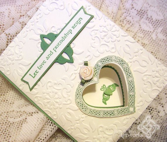 Celtic Wedding Card With Claddagh And Knot Heart Vanilla Soft Green Papers