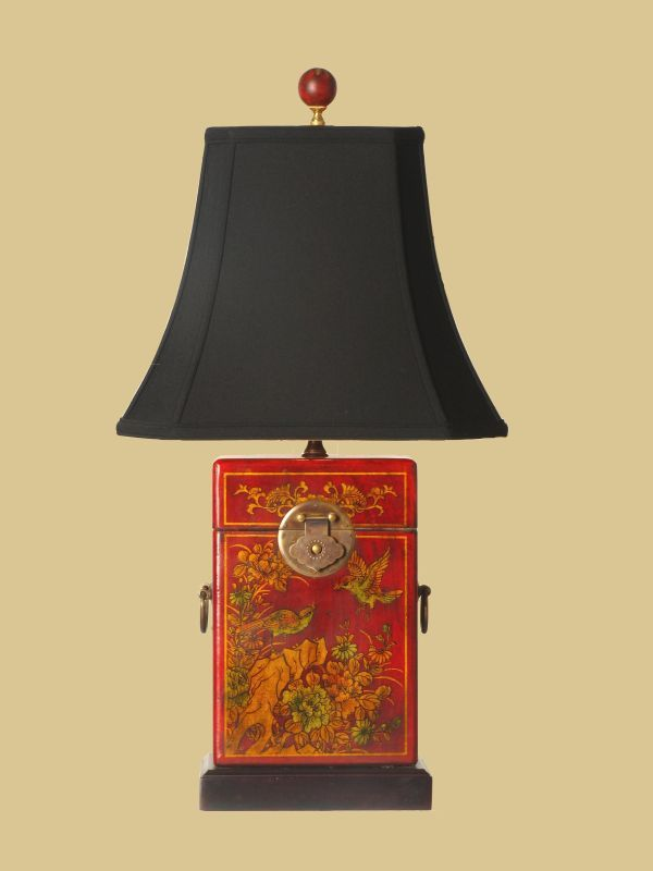 East Enterprises Box Oriental Leather Table Lamp With Red Finish