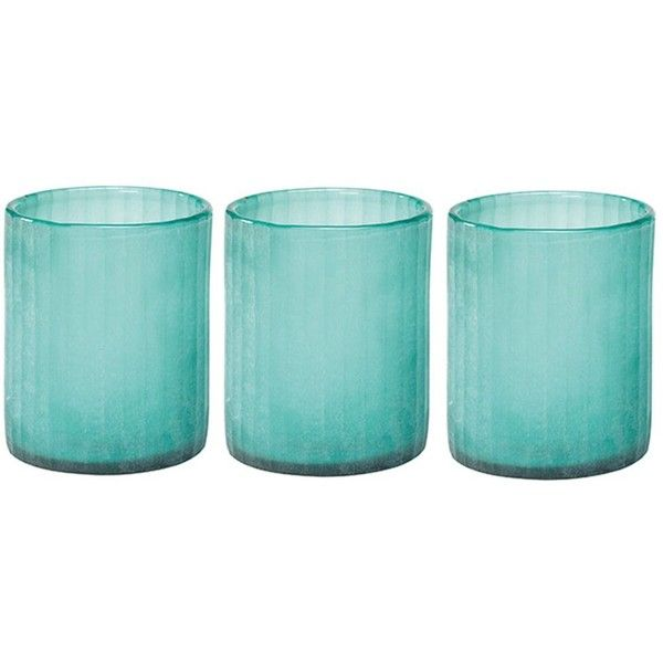 Jamie Young Small Glass Hurricanes Aqua By 200 Liked On Polyvore Featuring Home