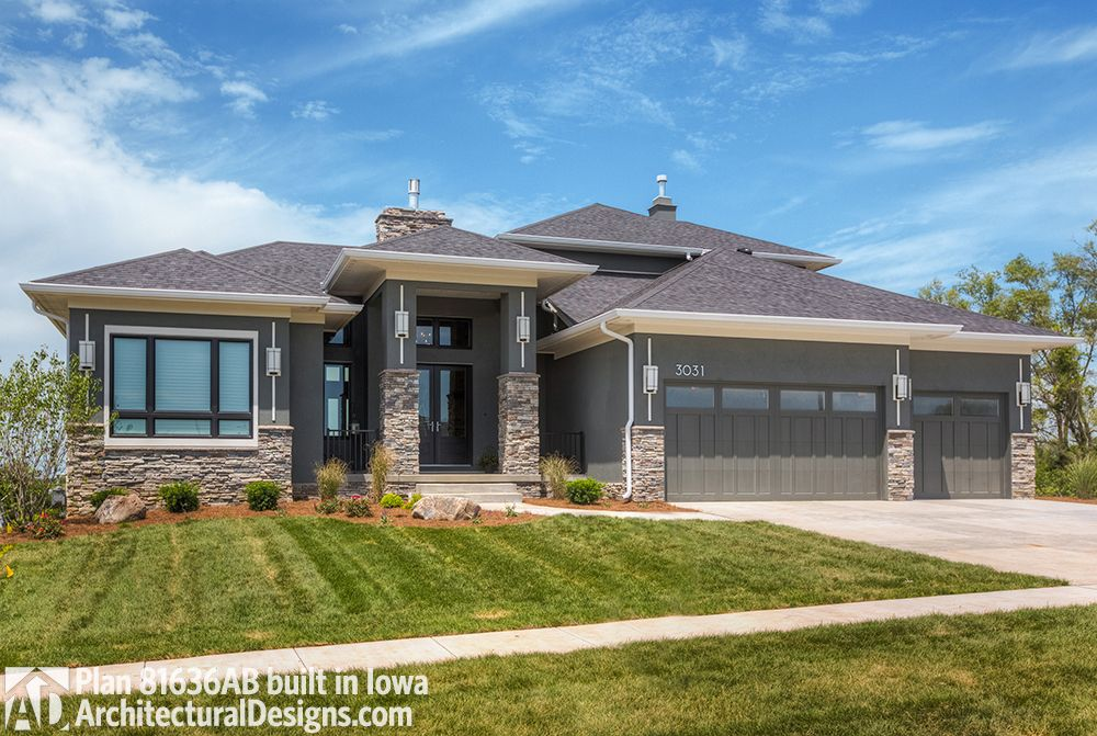 Plan 81636ab Amazing Prairie Style Home Plan In 2020 Prairie Style Houses Craftsman Style House Plans Prarie Style Homes