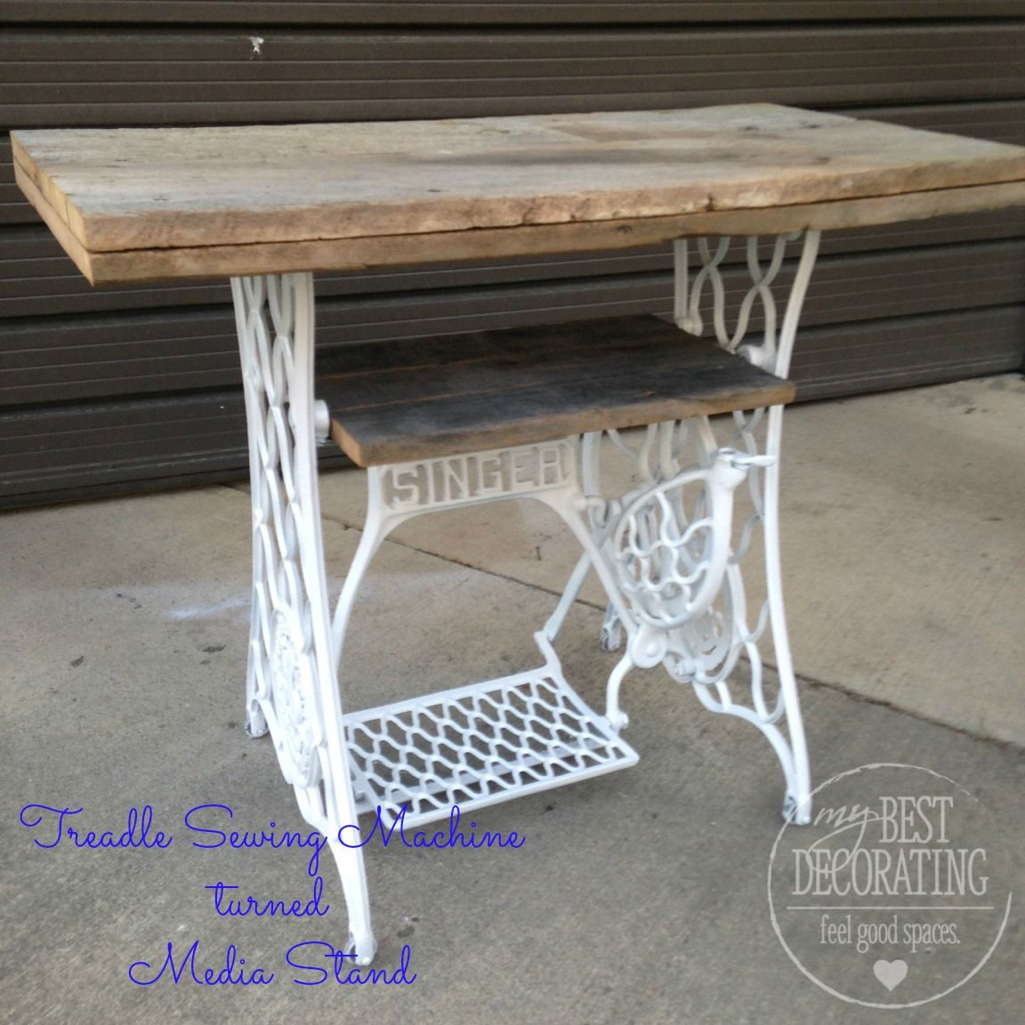 What Was Once A Black Iron Sewing Machine Base Gets New Life As A Shabby  Chic