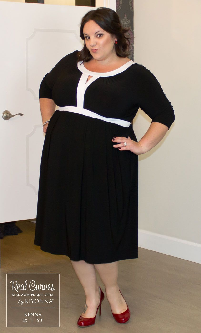 """c3b33fa23f2 Real Curve Cutie Kenna (5 3"""") is too adorable in our plus size Bewitching  Banded Dress. www.kiyonna.com  KiyonnaPlusYou  Plussize  MadeintheUSA   Kiyonna"""