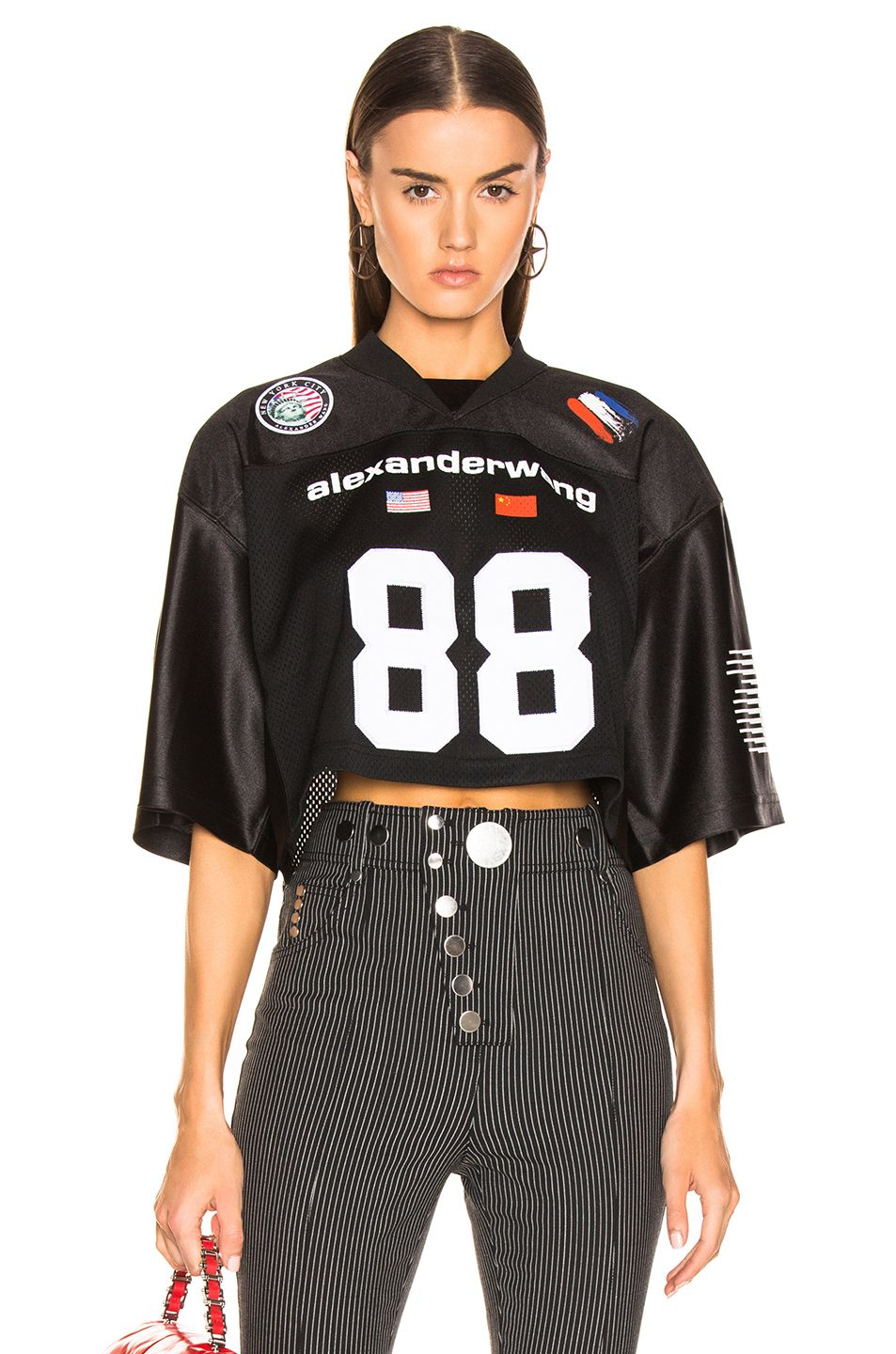 eb4a085d3b3 Image 1 of Alexander Wang Athletic Jersey Crop Top in Black ...