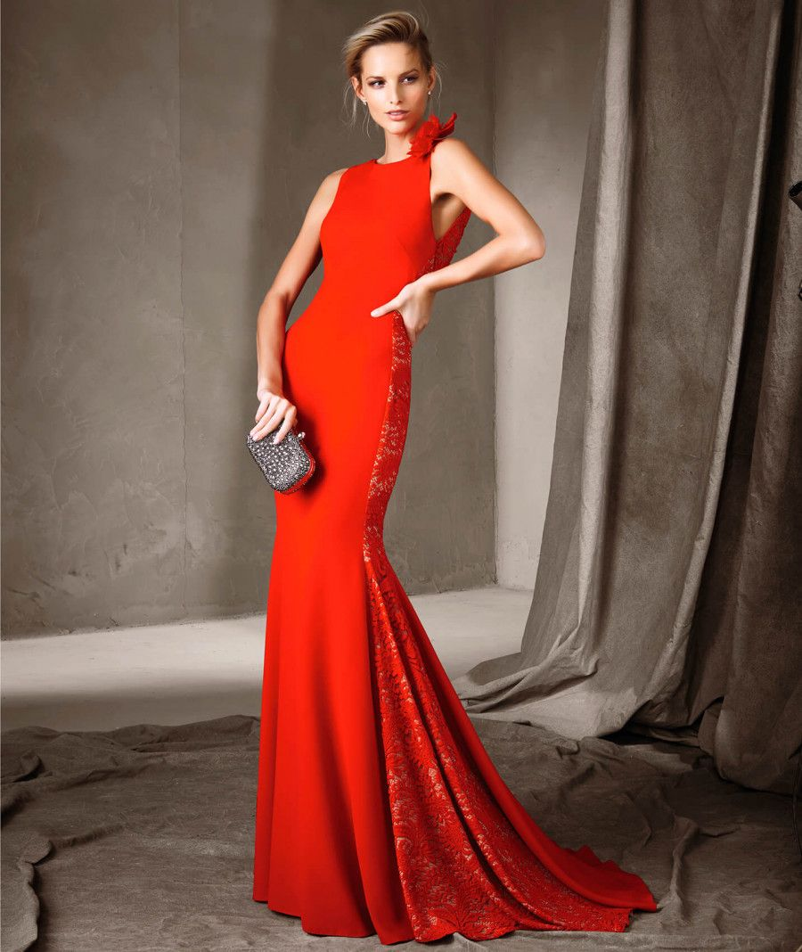 Cerise pronovias party dress with an asymmetric neckline ropa
