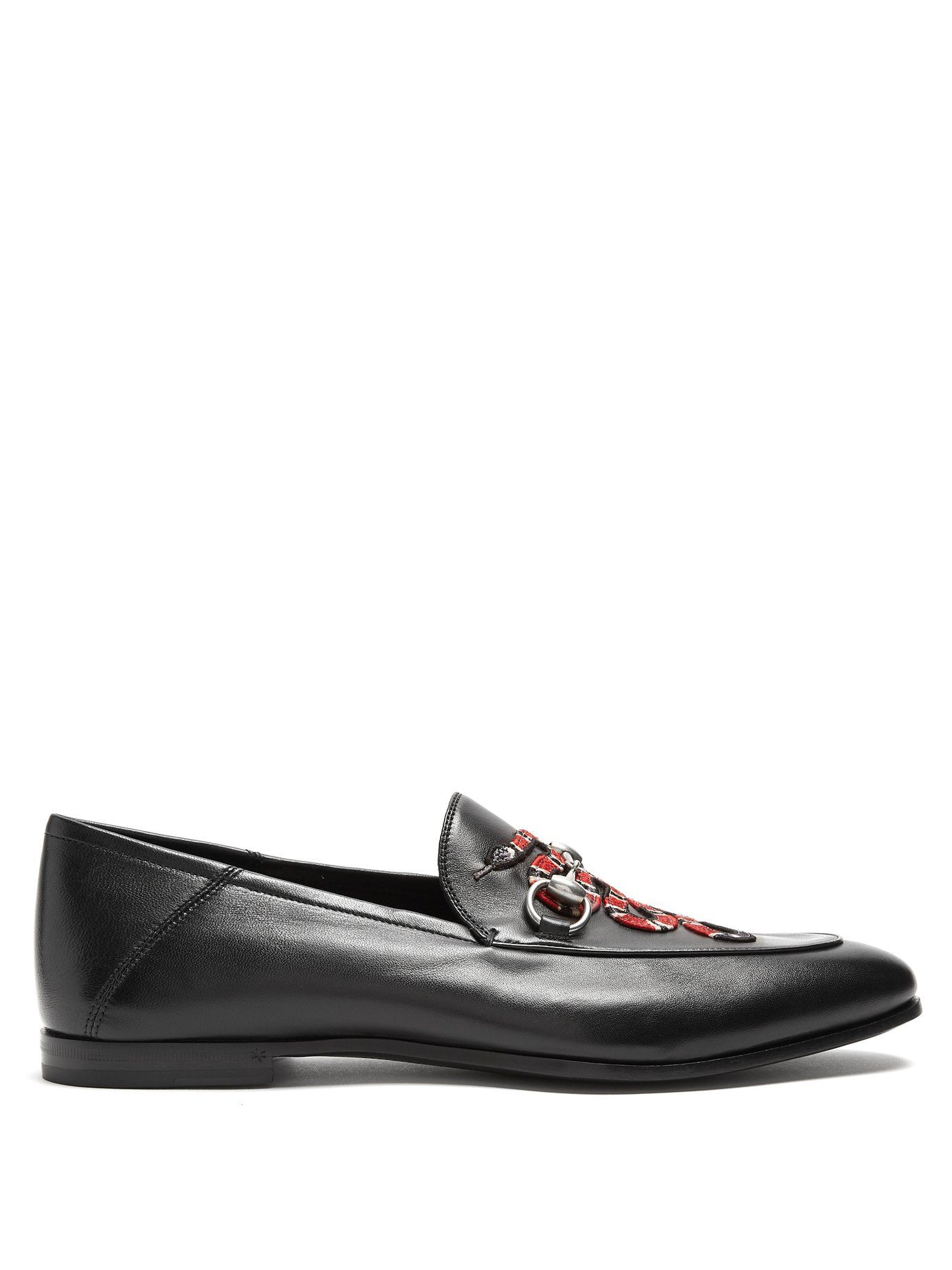Discount Gucci Black Brixton Leather Loafers for Women Online Sale