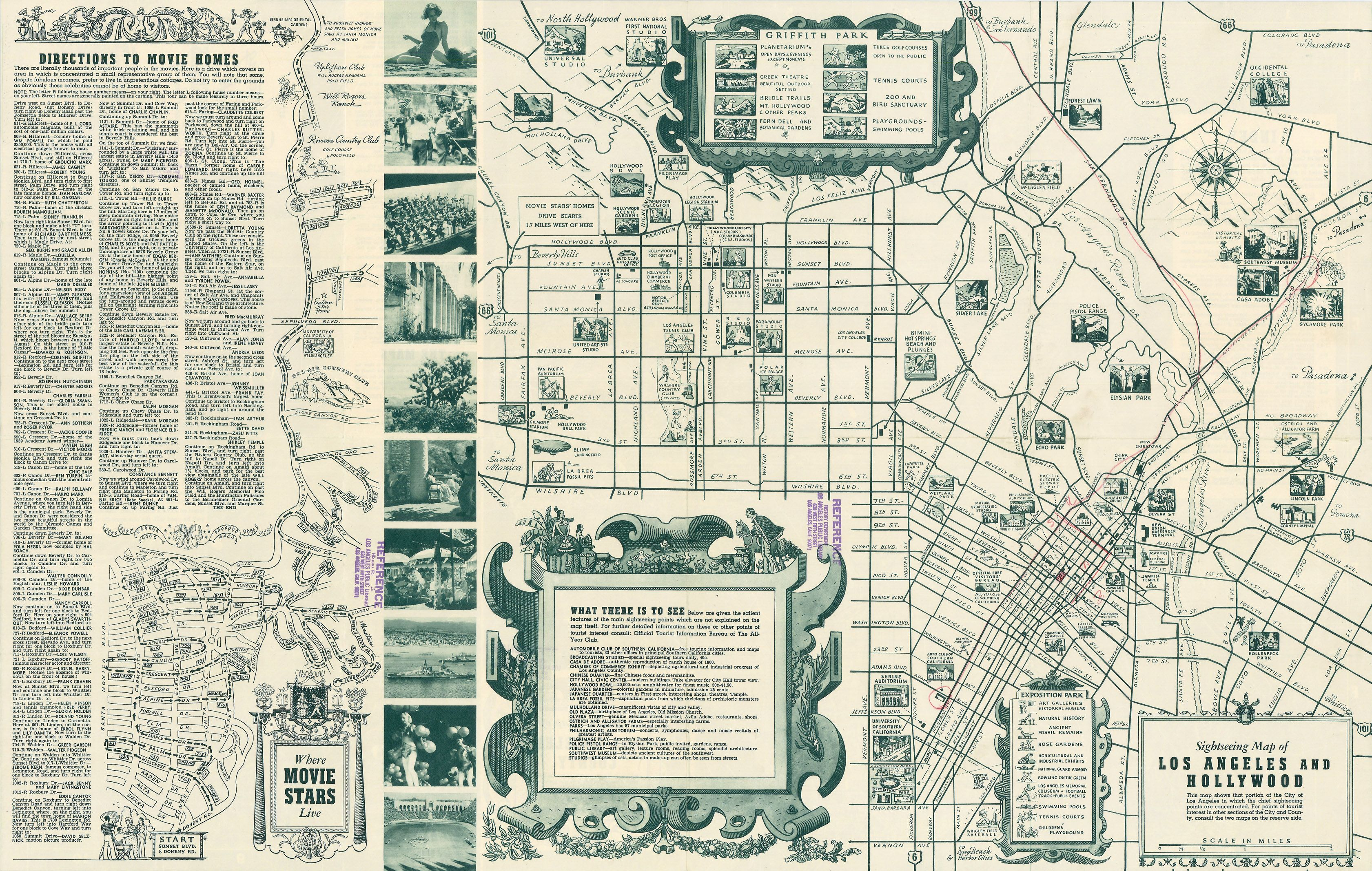 Sightseeing Map Of Los Angeles And Hollywood  Studios - Jo mora los angeles map