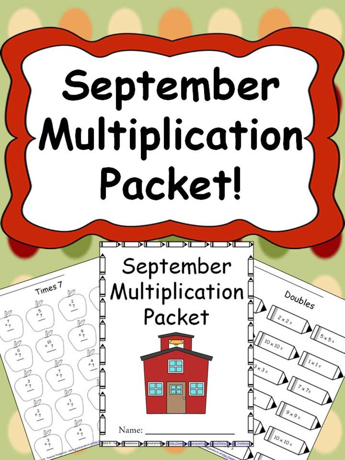 September Multiplication Packet Just Print Amp Go