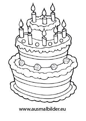 Ausmalbild Geburtstagstorte  geb kids  Pinterest