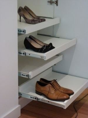 wardrobe carcass inside with pull out shelves or their shoe rack shelf