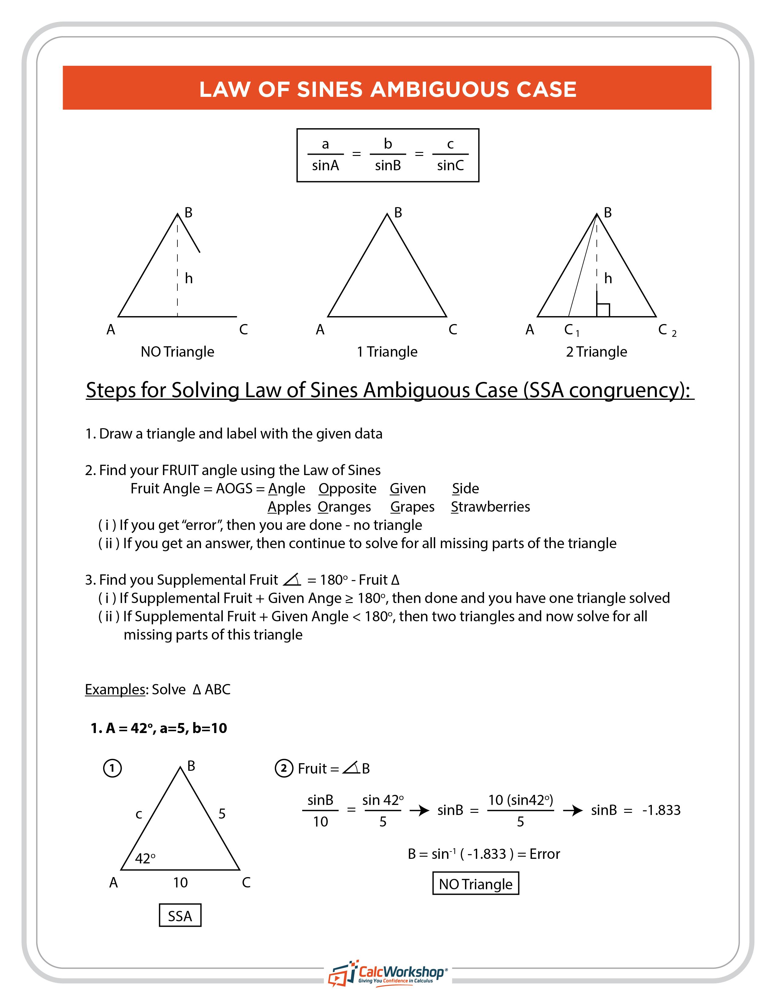 Law Of Sines Ambiguous Case Fruit Method Law Of Sines Precalculus Math
