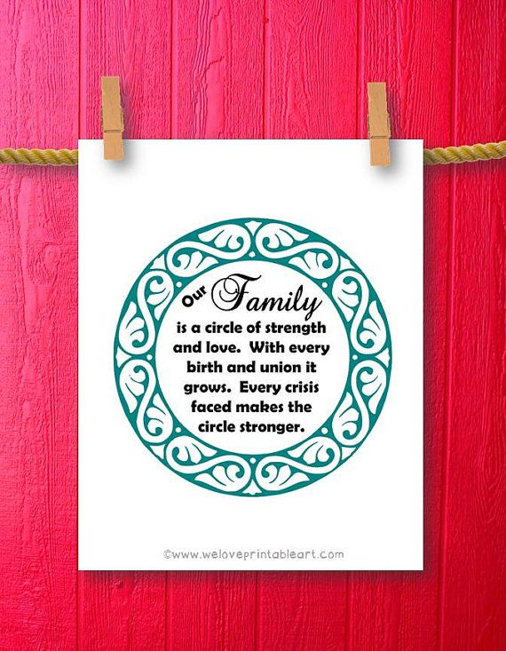 This printable art sign features a lovely border and the family quote:    Our family is a circle of strength and love. With every birth and