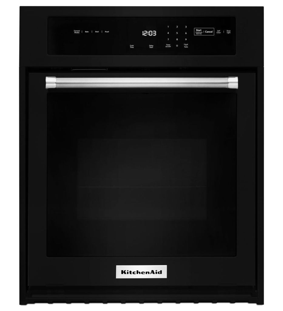 kitchenaid black wall oven kose507ebl 27 inch single wall oven with even heat and true