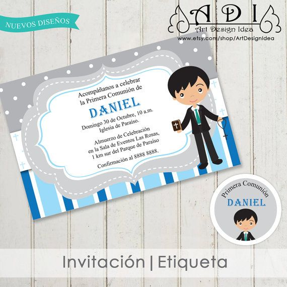 First Communion Invitation Boy Spanish English Or Italian