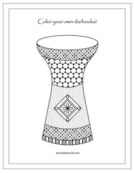 Darbouka Middle Eastern Drum Free Coloring Page Music
