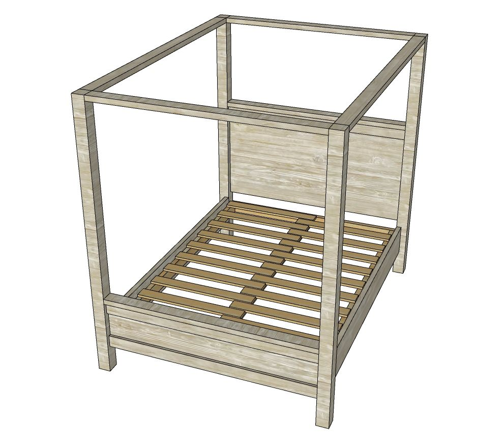 Farmhouse Canopy Bed Frame (All Sizes) (With images