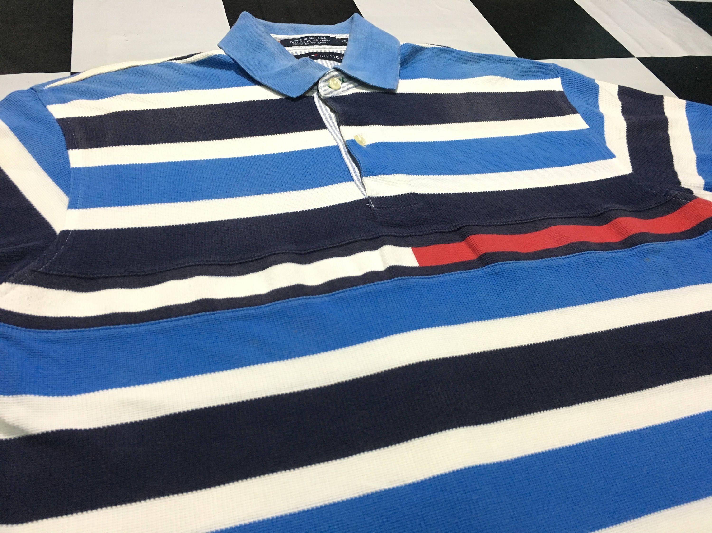 d4977657f Vintage Tommy hilfiger polo shirt striped color embroidered flag logo color  block Size M Good condition by AlivevintageShop on Etsy