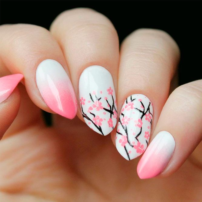 Stylish Pink And White Nails Naildesignsjournal Com Cherry Blossom Nails Art Cherry Blossom Nails Floral Nails