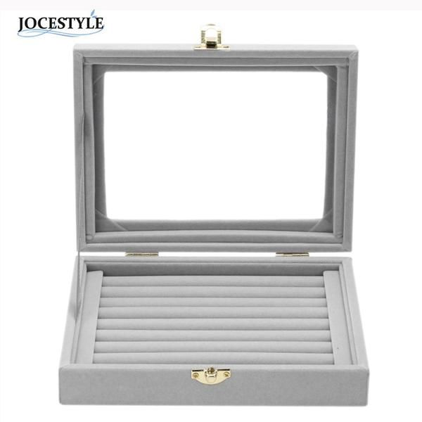 Gray 8 Booths Velvet Carrying Case with Glass Cover Jewelry Ring