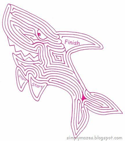 Maze Number 128 Coloring Book Shark Printables!! Pinterest