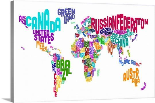 World map made up of country names printable world map with names world map made up of country names photo canvas print gumiabroncs Gallery