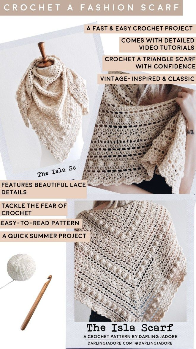 Lace Triangle Scarf Crochet Pattern | The Isla Scarf, Darling Jadore