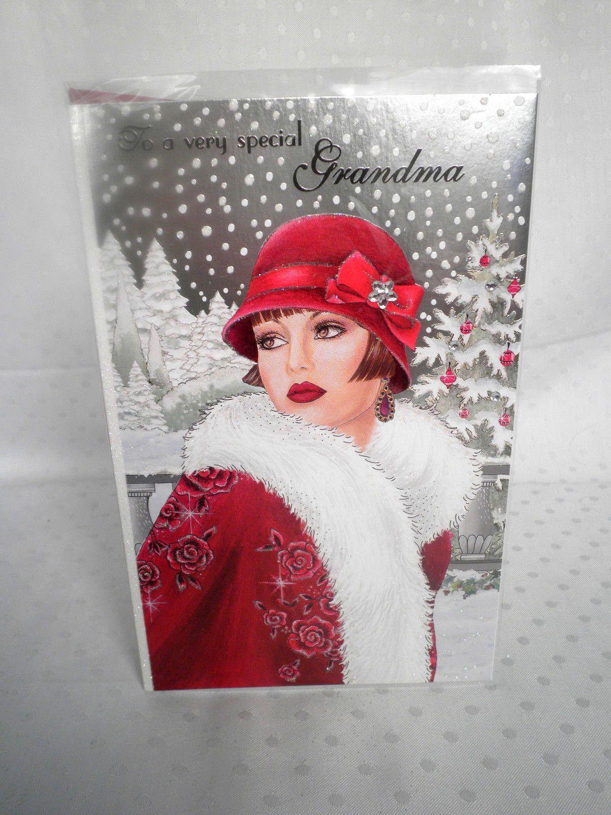 To a Special Grandma art deco Lady Christmas Card Clintons
