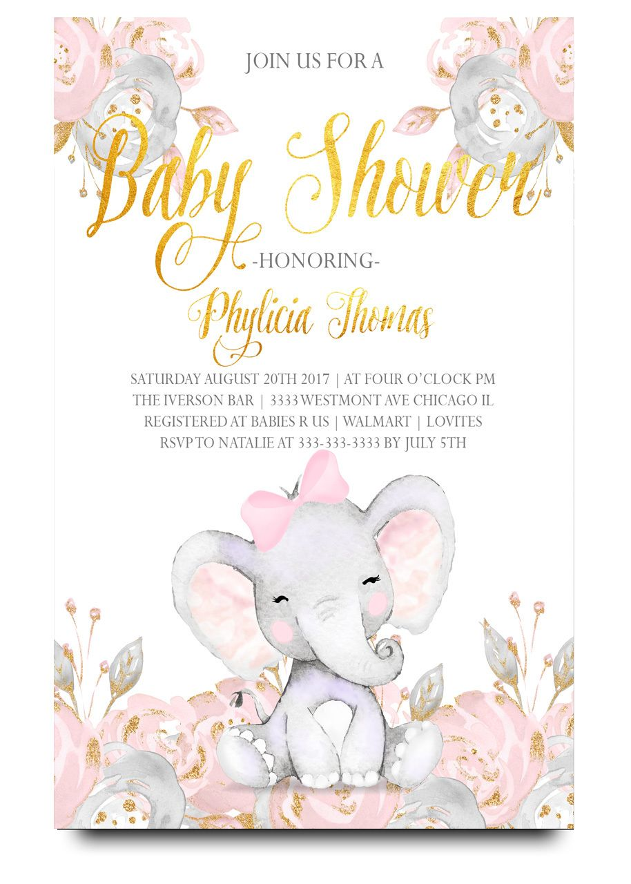 Pink Elephant Baby Shower Invitation Pink Elephant In 2019 Baby