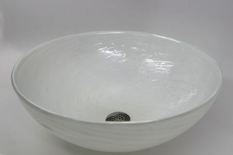 Picture Of White Pearl Hand Blown Glass Vessel Sink
