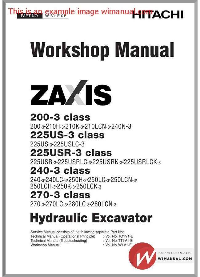 Hitachi Zaxis 200 225us 225usr 240 270 3 Workshop Manual Hitachi Manual Workshop