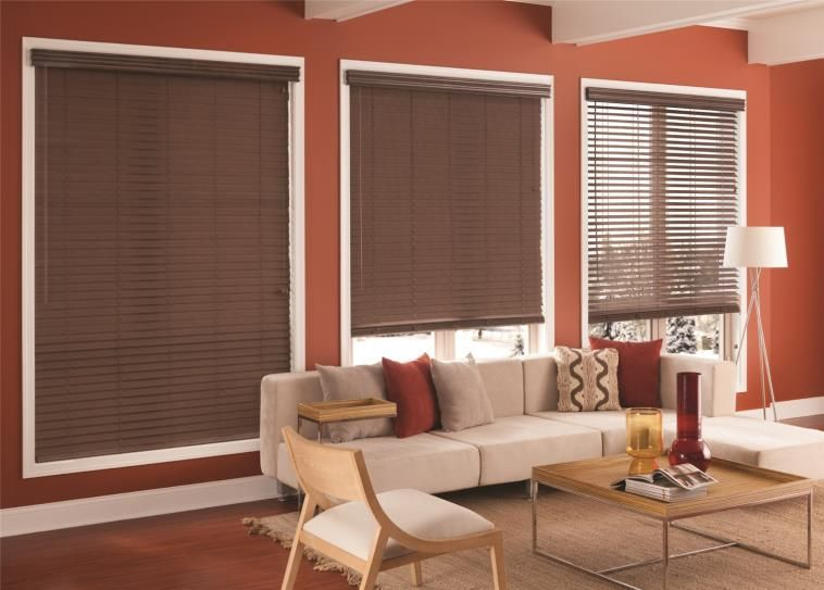 Dark Brown Fabric Blinds Create An Earth Tone Accent In This Living Room