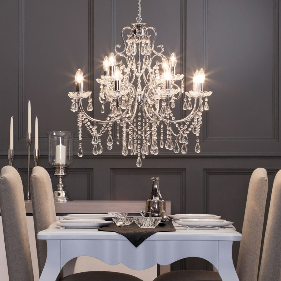 Contemporary Dining Room Chandeliers: Madonna Chandelier 12 Light Dual Mount - Chrome