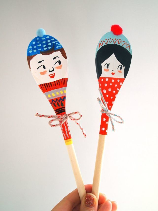 Hand painted christmas wooden spoon crafty pinterest for Wooden spoons for crafts
