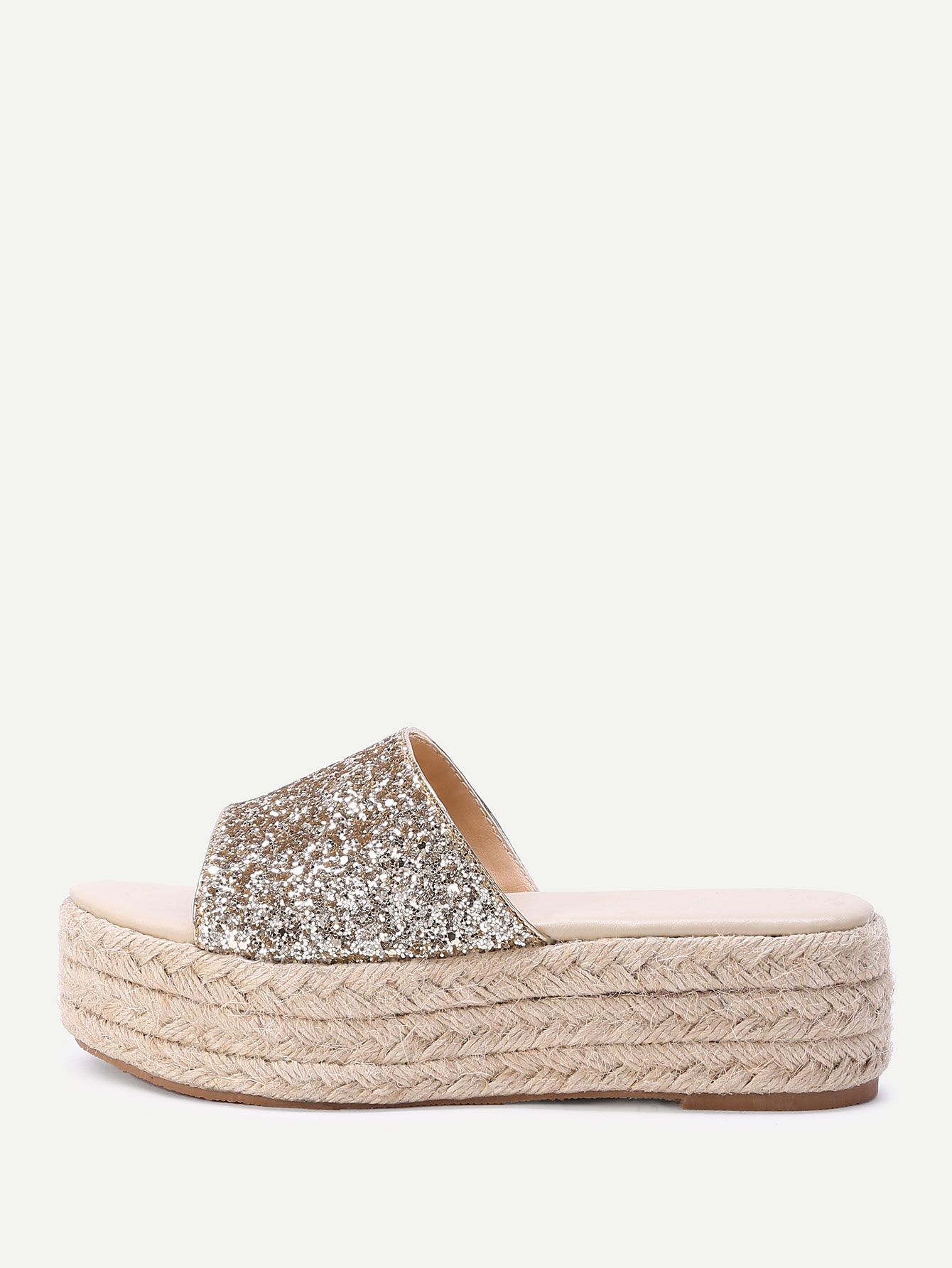 Shop Glitter Design Woven Flatform Sandals online. SheIn offers Glitter  Design Woven Flatform Sandals   more to fit your fashionable needs. 3853cb4ee1c