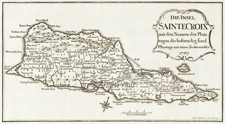 St Croix Danish West Indies Us Virgin Islands 1767 Plantation Caribbean Map By Paul Kussner