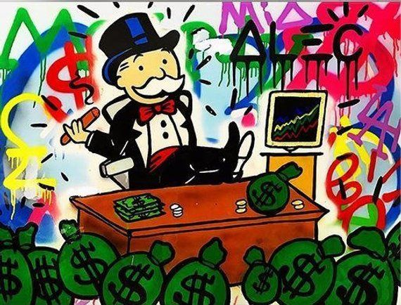 c42b58a8fc6 Alec Monopoly Oil Painting on Canvas Urban art wall decor color Busy Rich  Man