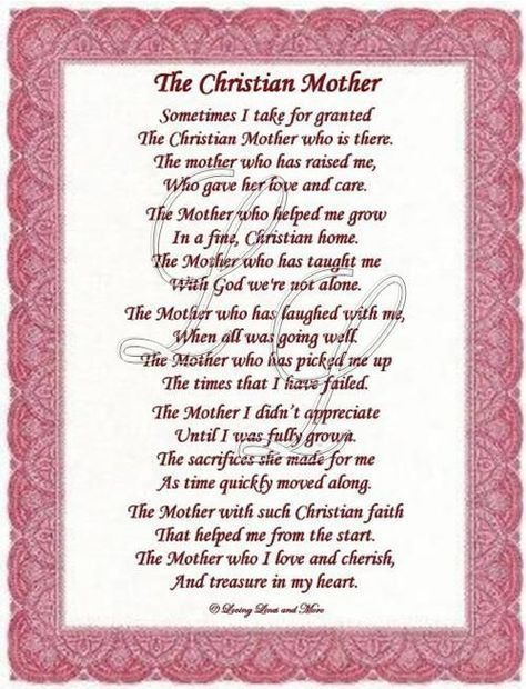 Christian Mothers Day Poems Christian Mother Poem Is For The