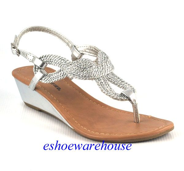 0a2590fc812c Silver Leatherette So Cute Rope Twisted Loop Low Wedge Slingback Sandals