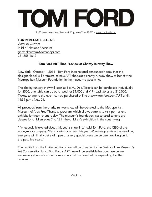 1100 West Avenue New York City New York 10212 Www Tomford Com For Immediate Release Gemrick C Press Releases Design Media Kit Design Public Relations