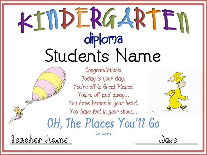 Kindergarten Graduation Diploma Kindergarten graduation