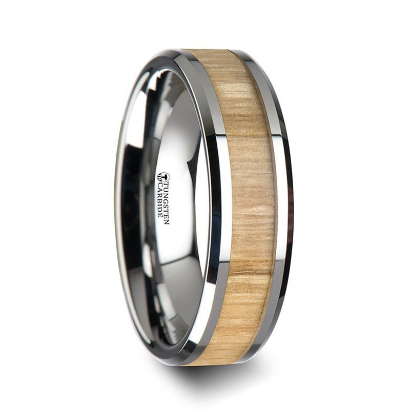 PHOENIX Tungsten Ring W Polished Bevels Ash Wood Inlay 6mm 8mm 10mm