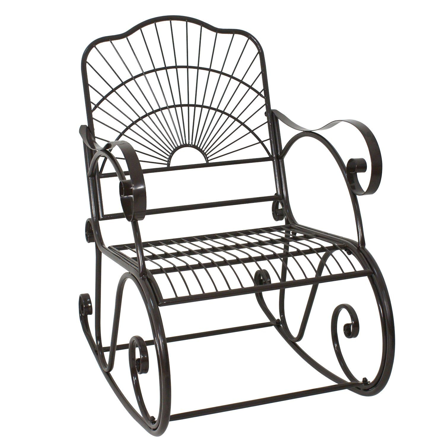 Wrought irom rocking chair outdoor porch patio rocker seat antique