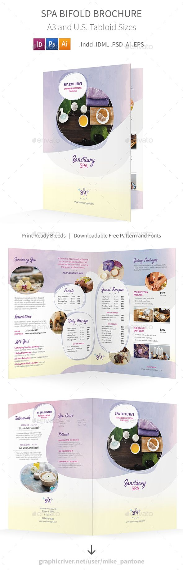 Spa Bifold  Halffold Brochure   Health Brochures And Photoshop