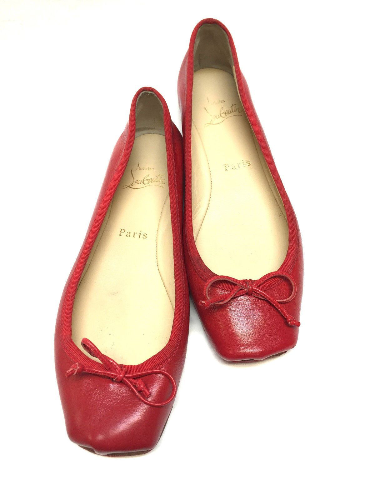 CHRISTIAN LOUBOUTIN Red Leather Ballet Flats Shoes Size: 37.5