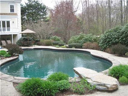 Beautiful Pool And Love The Stone Diving Board Pool Landscaping Backyard Pool Landscaping Pool Houses