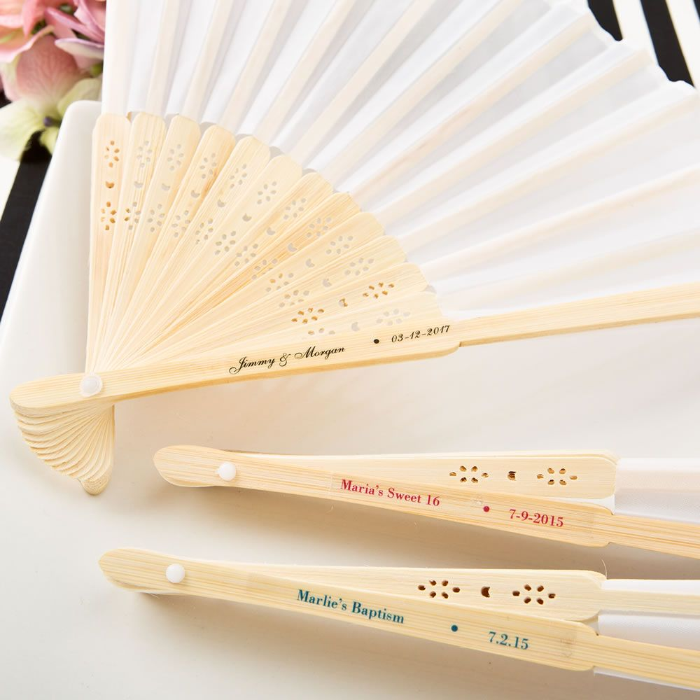 Personalized White Silk Folding Fan Wedding Favorspersonalized