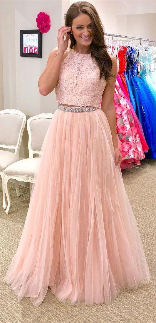 Halter Lace Appliqued Two Piece Prom Dresseslong 2 Piece Party