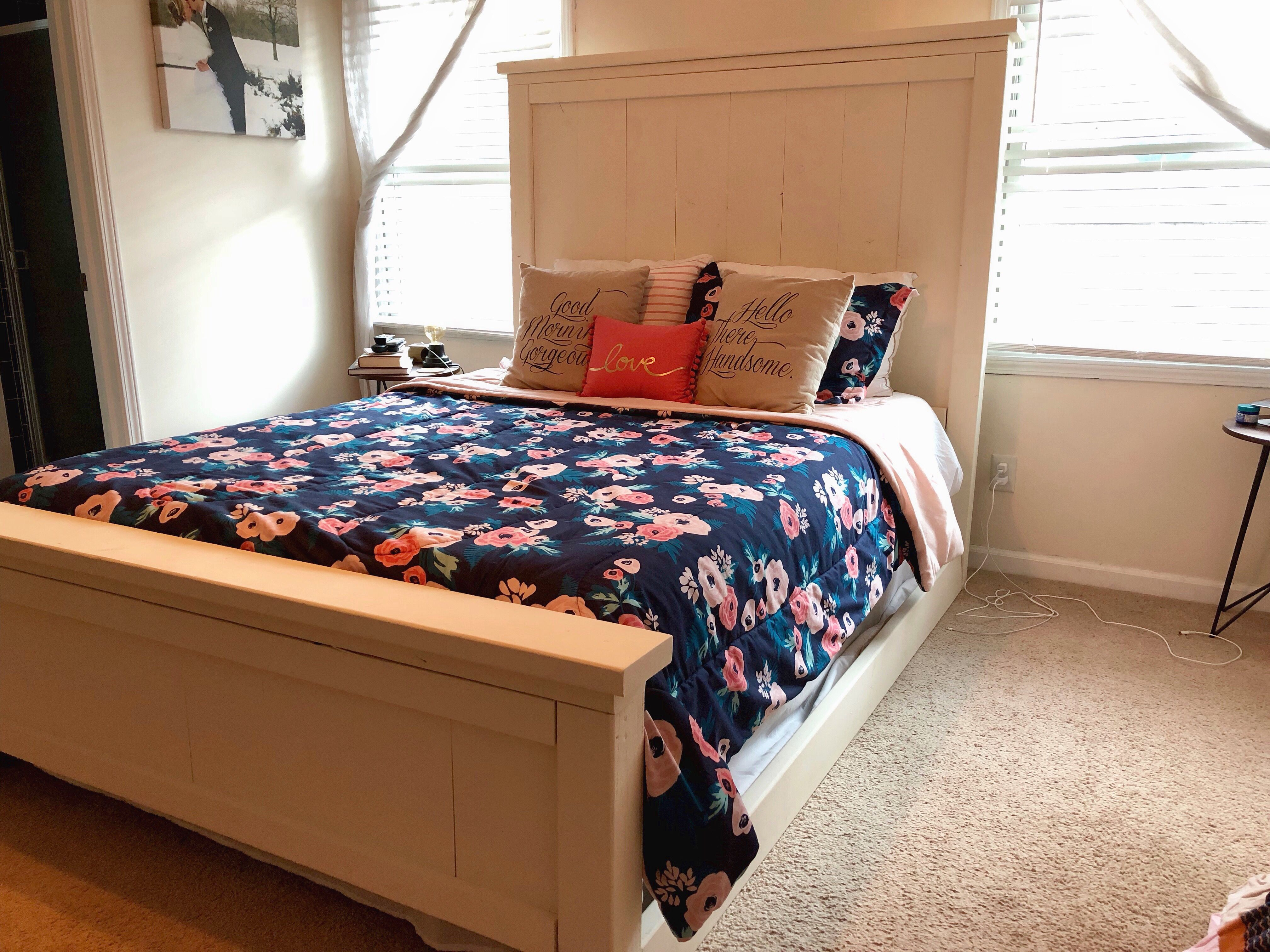 This queen rustic bed frame adds a perfect touch to any