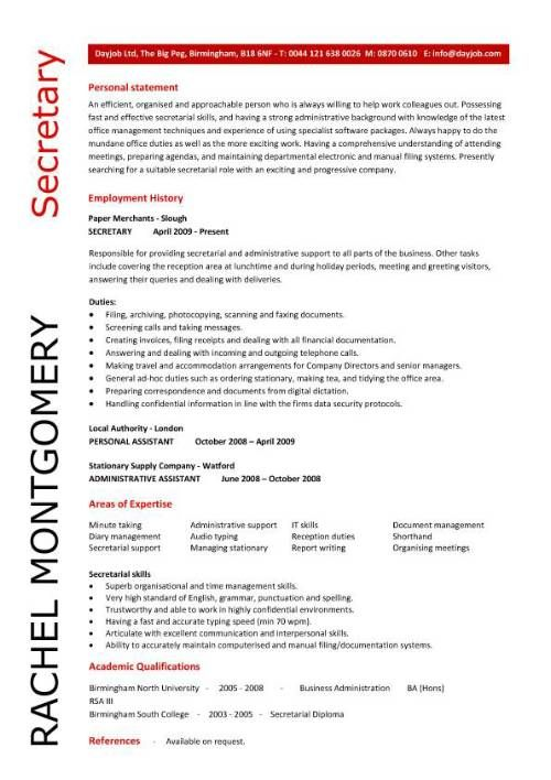 company secretary CV sample, Job description and activities, company