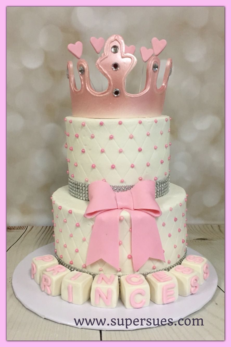 633b0052f0c9 Princess themed baby shower tiered cake with edible crown